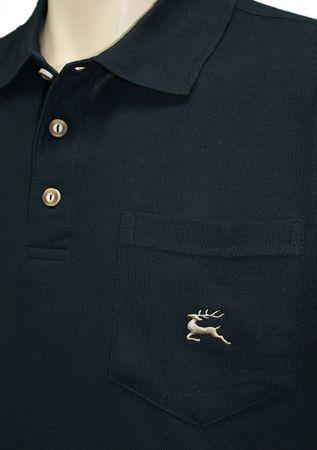 Poloshirt Trachtenhemd Trachten-Hemd Trachten-Polo Shirt Polohemd Hirsch schwarz – Bild 4