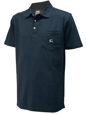Poloshirt Trachtenhemd Trachten-Hemd Trachten-Polo Shirt Polohemd Hirsch schwarz – Bild 1