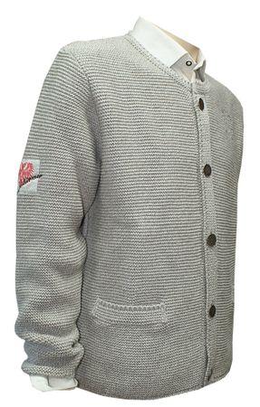 Trachtenjacke Trachtenjanker Trachten Strickweste Strickjacke Jacke beige Weste – Bild 7