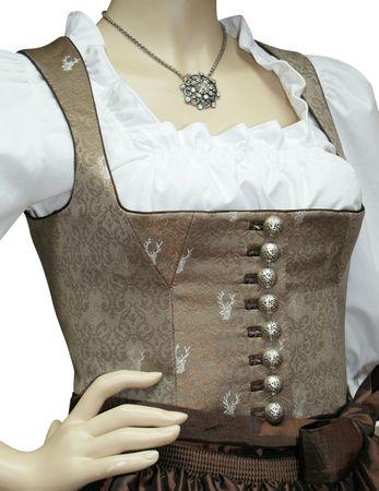 Brokat Mieder Dirndl Festtracht Kleid Trachtenkleid Dirndlkleid Hirsch braun – Bild 4