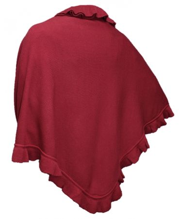 Trachtentuch Cape Poncho Umhang Stola Schultertuch Tuch Strickponcho Tracht rot – Bild 1