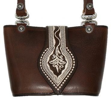 Trachtentasche Dirndl-Tasche Handtasche Leder Federkiel-Optik Ledertasche braun – Bild 3