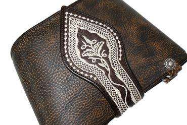 Trachtentasche Dirndl-Tasche Handtasche Leder Federkiel-Optik Ledertasche braun – Bild 7