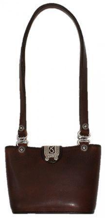Trachtentasche Dirndl-Tasche Handtasche Leder Federkiel-Optik Ledertasche braun – Bild 2