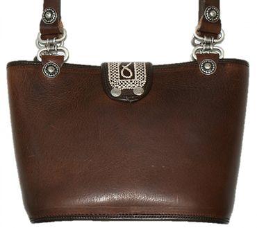 Trachtentasche Dirndl-Tasche Handtasche Leder Federkiel-Optik Ledertasche braun – Bild 4