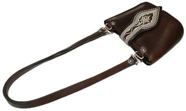 Trachtentasche Dirndl-Tasche Handtasche Leder Federkiel-Optik Ledertasche braun – Bild 5