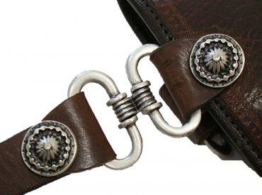 Trachtentasche Dirndl-Tasche Handtasche Leder Federkiel-Optik Ledertasche braun – Bild 9
