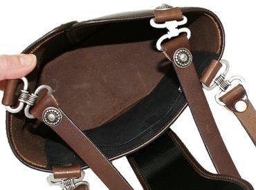 Trachtentasche Dirndl-Tasche Handtasche Leder Federkiel-Optik Ledertasche braun – Bild 10