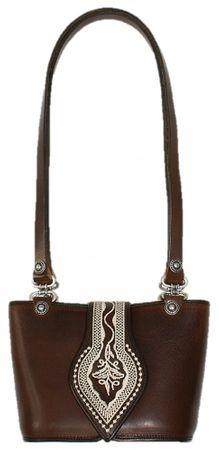 Trachtentasche Dirndl-Tasche Handtasche Leder Federkiel-Optik Ledertasche braun