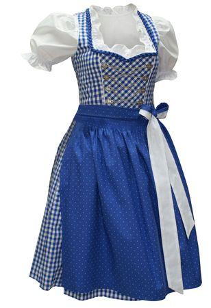 Balkonett-Dirndlkleid Kleid Trachtenkleid Wiesn-Dirndl blau/weiß Karo Baumwolle