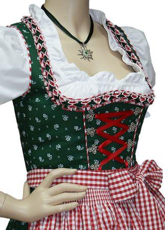 Streublumen-Dirndl Balkonett-Dirndlkleid Kleid Trachtenkleid grün/rot Baumwolle – Bild 4