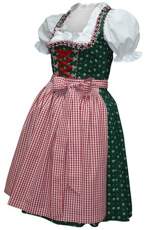Streublumen-Dirndl Balkonett-Dirndlkleid Kleid Trachtenkleid grün/rot Baumwolle – Bild 1