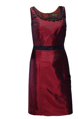 Trachten-Kleid Trachtenkleid Dirndlkleid Dirndl Etuikleid Taft dunkelrot rot