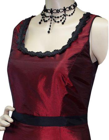 Trachten-Kleid Trachtenkleid Dirndlkleid Dirndl Etuikleid Taft dunkelrot rot – Bild 4