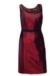 Trachten-Kleid Trachtenkleid Dirndlkleid Dirndl Etuikleid Taft dunkelrot rot 001