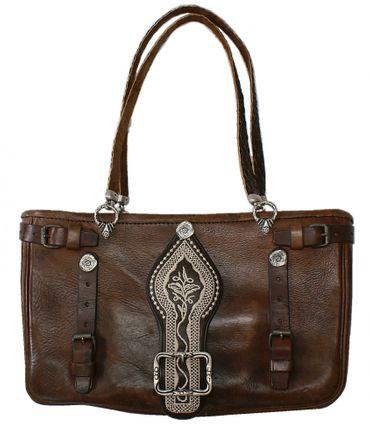 Trachtentasche Metzgertasche Handtasche Federkiel-Optik Sattel-Tasche anno 1945