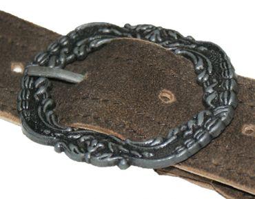 Hosenträger Lederhosenträger Leder Trachten-Flecht-Träger Lederhose braun V-Form – Bild 4