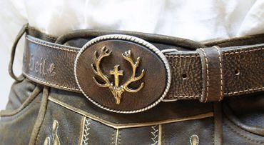 Trachtengürtel echt vergoldet Herren Trachten-Gürtel f. Lederhose Ledergürtel – Bild 9