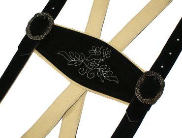 Gr.48 Trachtenlederhose Plattlerhose Lederhose Träger schwarz kurz Stickerei – Bild 4