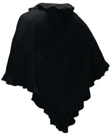 Trachtentuch Cape Poncho Umhang Stola Schultertuch Tuch Strickponcho schwarz – Bild 1