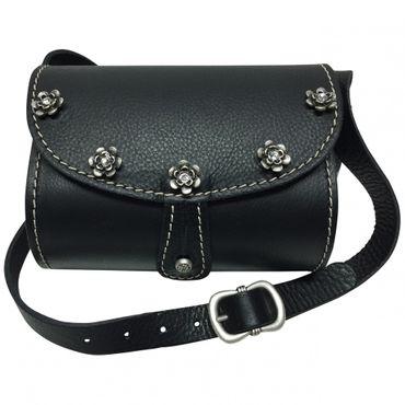 Trachtentasche Dirndl-Handtasche Trachten-Tasche Ledertasche schwarz, versilbert – Bild 1