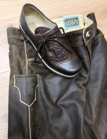 Leather Pants Traditional Costume Short Brown Leather speckig Patina Mens Costume Leather Pants Zip
