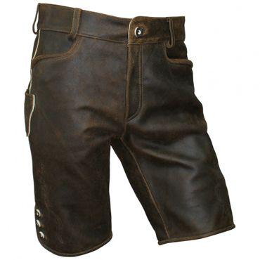 Lederhose Trachten kurz braun Leder speckig Patina Herren Trachtenlederhose Zipp – Bild 1