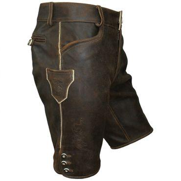 Lederhose Trachten kurz braun Leder speckig Patina Herren Trachtenlederhose Zipp – Bild 4
