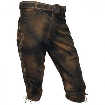 Lederhose Trachten Kniebundhose braun Herren Trachtenlederhose Zipp mit Gürtel – Bild 1