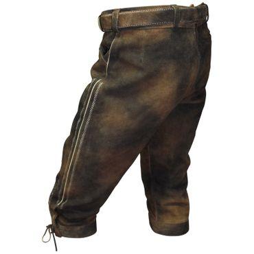 Lederhose Trachten Kniebundhose braun Herren Trachtenlederhose Zipp mit Gürtel – Bild 6