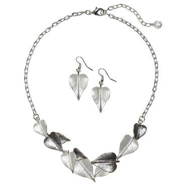 Dirndl-Collier Trachtenkette Blätter Trachtenschmuck Kette Schmuck + Ohrringe – Bild 2