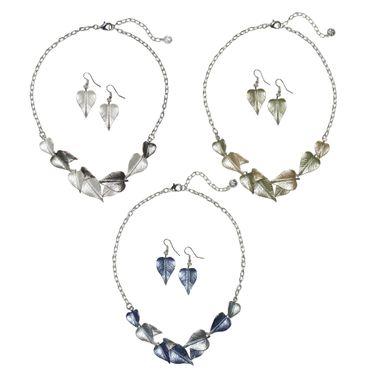Dirndl-Collier Trachtenkette Blätter Trachtenschmuck Kette Schmuck + Ohrringe – Bild 1