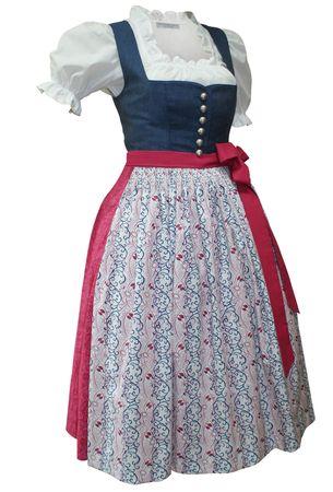 Dirndl Trachten-Kleid Trachtenkleid Dirndlkleid Leinen Baumwolle Baumwolldruck – Bild 1
