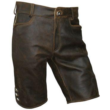 Lederhose Trachten kurz braun Zipp Patina speckig Herren Trachtenlederhose 64 66