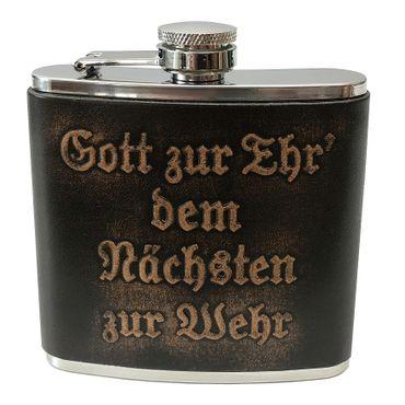 Flachmann Feuerwehrflachmann Floriani Feuerwehr-Taschenflasche Gott zur Ehr – Bild 1