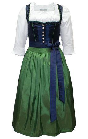 Dirndl Trachten-Kleid Trachtenkleid Balkonett Dirndlkleid f. Ball Taft blau grün – Bild 1