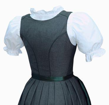 Dirndl Trachten-Kleid Trachtenkleid Balkonett Dirndlkleid Mieder grau dunkelgrün – Bild 5