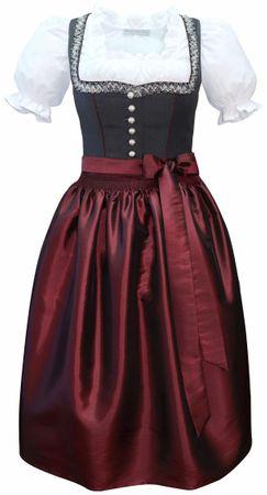 Dirndl Trachten-Kleid Trachtenkleid Balkonett Dirndlkleid Fresko grau dunkelrot – Bild 1