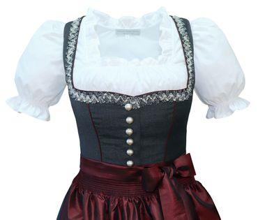 Dirndl Trachten-Kleid Trachtenkleid Balkonett Dirndlkleid Fresko grau dunkelrot – Bild 4