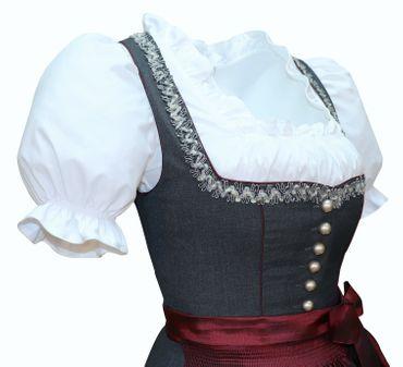 Dirndl Trachten-Kleid Trachtenkleid Balkonett Dirndlkleid Fresko grau dunkelrot – Bild 7