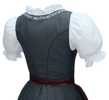 Dirndl Trachten-Kleid Trachtenkleid Balkonett Dirndlkleid Fresko grau dunkelrot – Bild 5