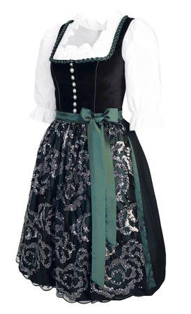 Dirndl Trachten-Kleid Trachtenkleid Balkonett Dirndlkleid Samt Schürze Pailetten – Bild 5
