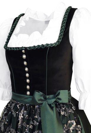 Dirndl Trachten-Kleid Trachtenkleid Balkonett Dirndlkleid Samt Schürze Pailetten – Bild 2