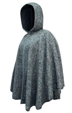 Wetterfleck Umhang Cape Poncho Damen Trachten-Mantel Walk Wolltuch Kapuze grau – Bild 4