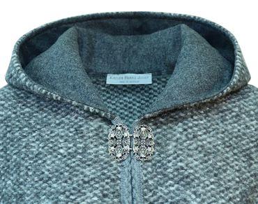 Wetterfleck Umhang Cape Poncho Damen Trachten-Mantel Walk Wolltuch Kapuze grau – Bild 6
