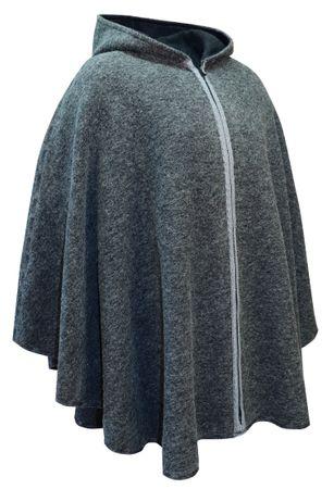 Wetterfleck Cape Poncho Damen Trachten-Mantel Walk-Loden Wolltuch Kapuze grau – Bild 1