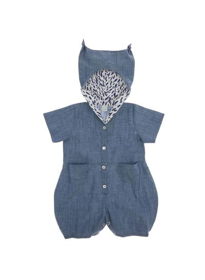 HOODED OVERALL (LIGHT DENIM) – image 2