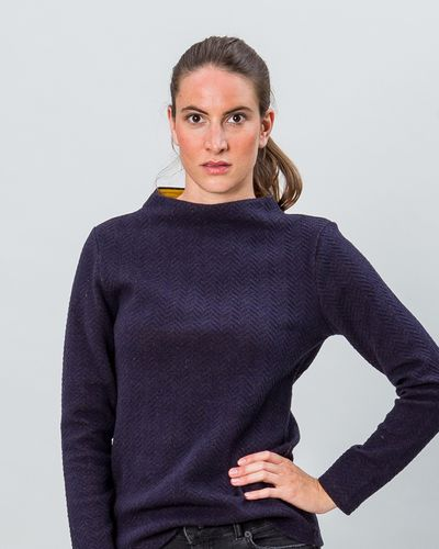 STAND UP COLLAR MERINO PULLOVER (HERRINGBONE STRUCTURE KNIT) – image 7