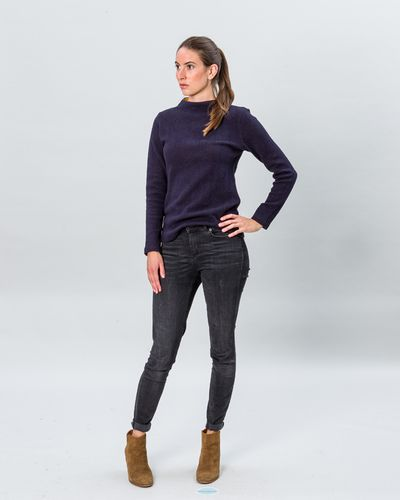 STAND UP COLLAR MERINO PULLOVER (HERRINGBONE STRUCTURE KNIT) – image 8