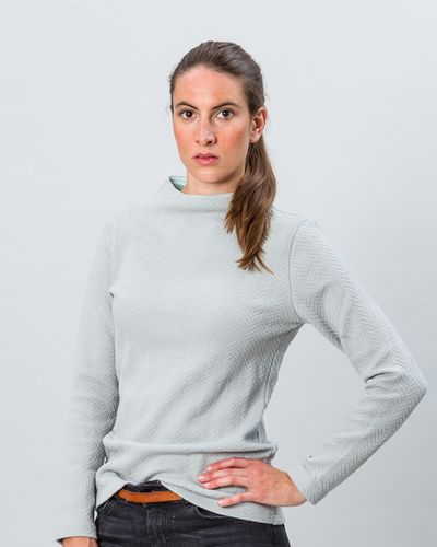STAND UP COLLAR MERINO PULLOVER (HERRINGBONE STRUCTURE KNIT) – image 9